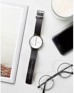 Hagen Leather Connected Smart Watch In Black