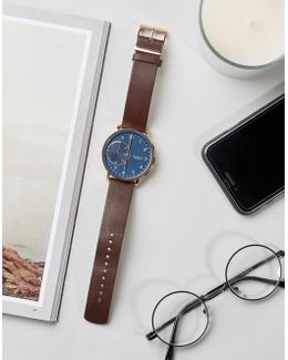 Hagen Leather Connected Smart Watch In Brown