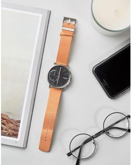 Hagen Leather Connected Smart Watch In Tan