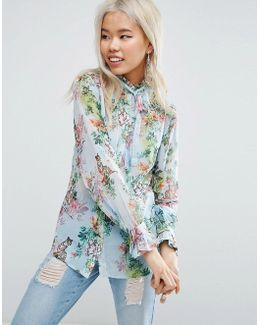 Floaty Blouse In Floral Tiger Print