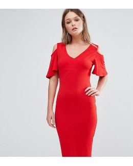 Midi Dress With Cold Shoulder Frill Detail