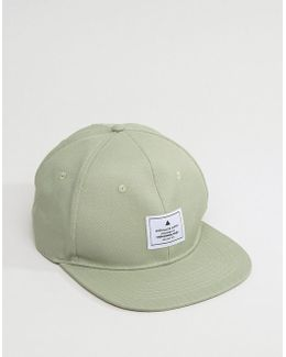 Snapback Cap In Green Textured Fabric