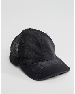 Trucker Cap With Distressed Finish In Black