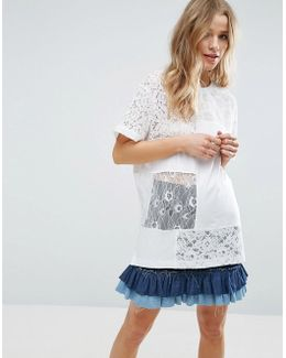 T-shirt In Oversized Fit With Cutabout Lace