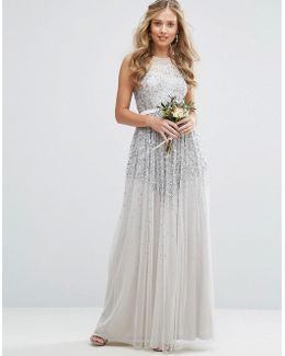Mesh Maxi Dress With Sequin Embellished Placement
