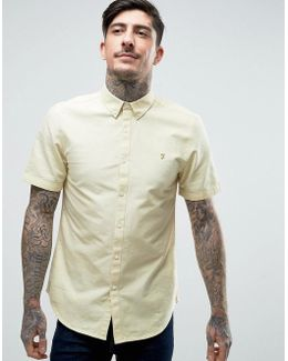 Brewer Short Sleeve Shirt Oxford Slim Fit Buttondown In Yellow
