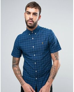 Cosford Short Sleeve Shirt Check Slim Fit Yarn Dyed In Blue