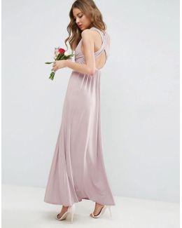 Wedding Drape Twist Back Maxi Dress