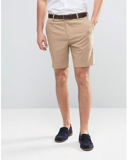 Tailored Slim Shorts In Stone