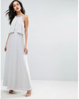 Embellished Strap Back Crop Top Maxi Dress