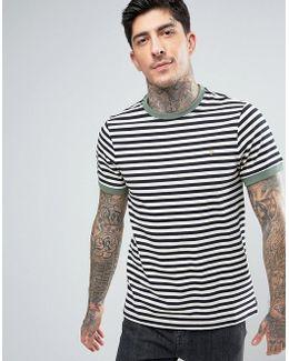 Ally Stripe Ringer T-shirt Slim Fit In Navy