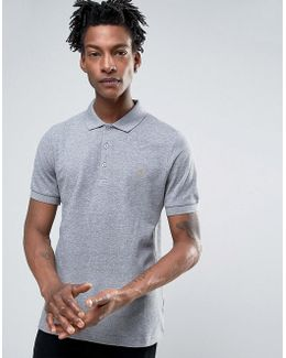 Blaney Pique Polo Slim Fit In Mid Gray Marl