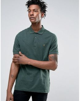 Blaney Pique Polo Slim Fit In Green Marl