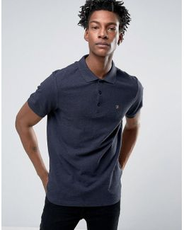 Blaney Pique Polo Slim Fit In Navy Marl