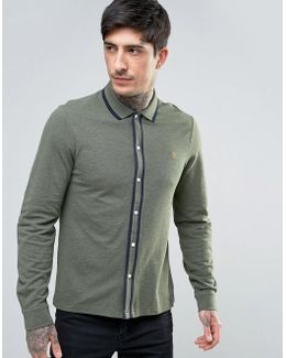 Homerton Pique Shirt Long Sleeve Tipped Slim Fit In Green Marl