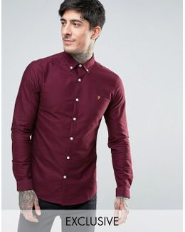 Stretch Skinny Fit Oxford Shirt Buttondown Exclusive In Red