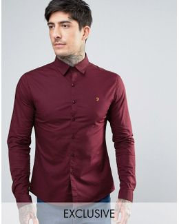 Stretch Skinny Fit Poplin Shirt Exclusive In Red