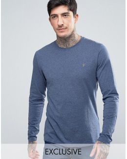 Twisted Yarn Marl Long Sleeve T-shirt Exclusive In Navy