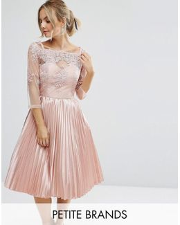 Chi Chi Petite Lace Top Bardot Dress With Pleated Skirt