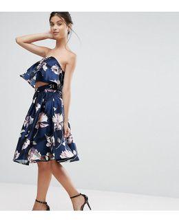 Chi Chi Petite Floral Jacquard Midi Skirt Co-ord