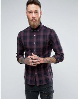Skinny Check Shirt In Purple