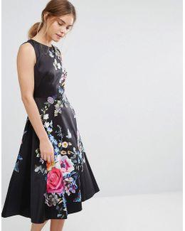 Floral Embroidered Midi Skater Dress