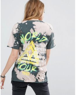 T-shirt In Distressed Tie Dye Tour Print With Lace Trim