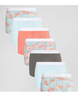 Trunks With Tropical Floral Print 7 Pack Save