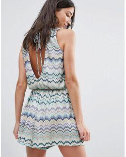 Swirl Print Dress With Tie Back