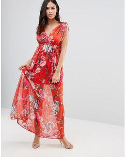 Floral V Front & Back Maxi Dress