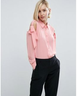 Blouse With Tie Cold Shoulder