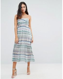 Squiggle Print Bandeau Dress