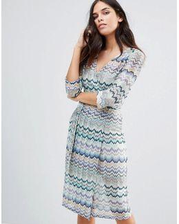 Striped 3/4 Sleeve Dress