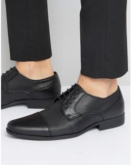 Derby Shoes In Black Faux Leather With Texture Emboss