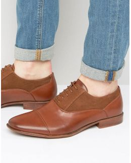 Oxford Shoes In Tan Faux Leather And Faux Suede