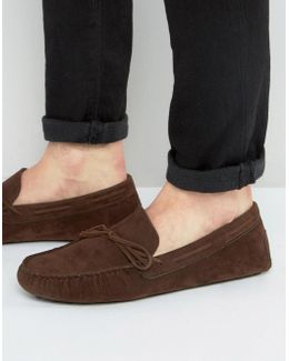 Driving Shoes In Brown Faux Suede