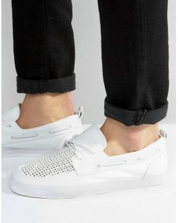 Boat Shoes In White With Perforated Detail