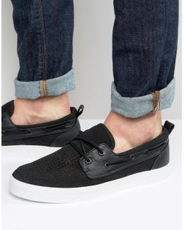 Boat Shoes In Black Faux Suede With Perforated Detail