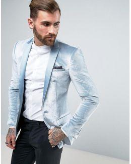 Super Skinny Blazer In Powder Blue Velvet