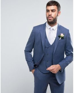 Wedding Slim Suit Jacket In Airforce Blue 100% Merino Wool