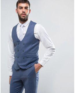 Wedding Slim Suit Waistcoat In Airforce Blue 100% Merino Wool