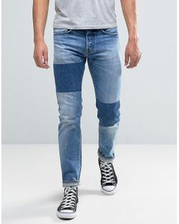 Ed-80 Slim Tapered Jeans Light Sheild Wash Dye Patches