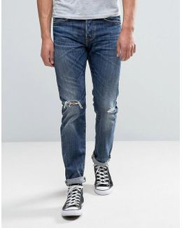 Ed-80 Slim Tapered Jeans Contrast Dark Wash Rips