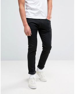 Ed-85 Slim Stretch Tapered Drop Crotch Jeans Black Wash White Selvage