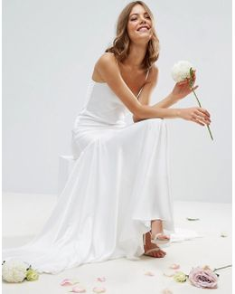 Bridal Cami Paneled Fishtail Maxi Dress