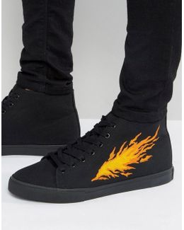 Lace Up Sneakers In Black With Fire Embroidery