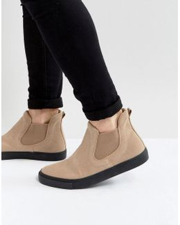 Chelsea Boot Sneakers In Stone Faux Suede