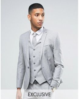 Wedding Skinny Suit Jacket In Linen Nepp