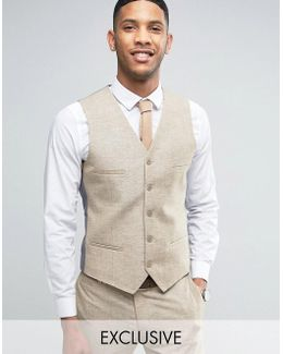 Skinny Wedding Suit Vest In Linen Nepp