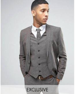 Skinny Wedding Suit Jacket In Linen Nepp